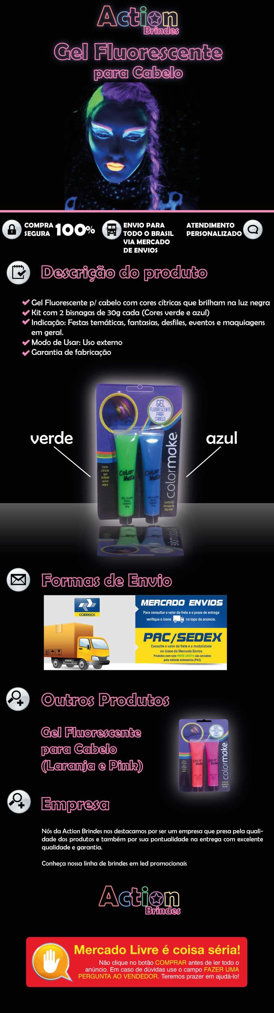 Gel Fluorescente Para Cabelo Verde e Azul