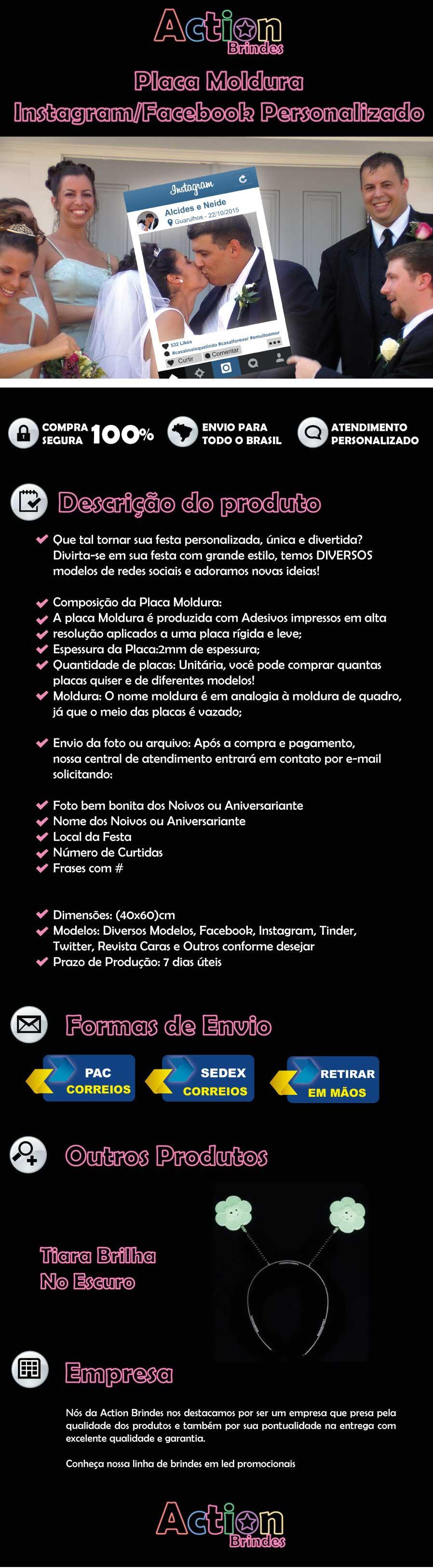 Placa Moldura Instagram E Facebook Personalizado