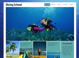 Scuba Diving Template - This template's bright colors and aquatic background will help any business make a splash! Add text and upload your own photos to advertise your courses, services, and team members. Start editing to take your business to new depths.