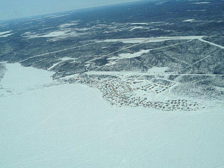 Aerial view of Deline during winter