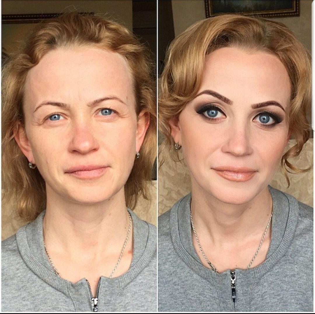 До и после нанесения макияжа фото