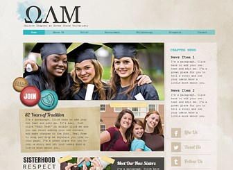 College Sorority Template - The sweet scrapbook feel of this template is perfect for sororities, clubs, and organizations. Add photos and customize the text to introduce your officers, talk about your mission, and promote upcoming events.