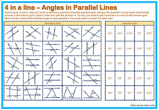 Angles in Parallel Lines – Parallel Lines and Transversals Worksheets
