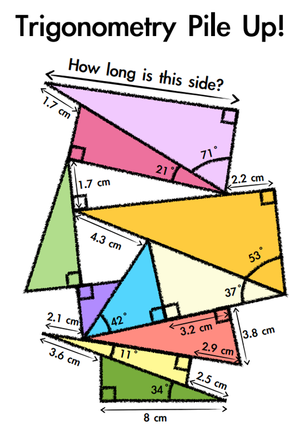 Trigonometry in rightangled triangles – Math Worksheets Trigonometry