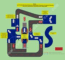 Схема расположения испытательных упражнений экзамена по первоначальным навыкам управления транспортными средствами