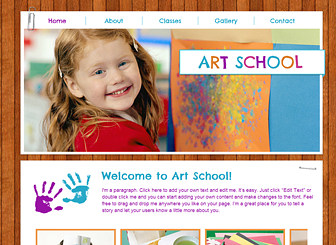 Kids Art Template - A playful template featuring bright colors, friendly fonts, and a wood paneled background. Advertise your classes and describe your teaching philosophy. Customize the design and add your own photos to share the smiles!