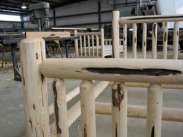 log bed frame close up