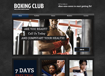 Boxing Club Template - Call attention to your gym, sports club, or fitness center with the clean layout and bold design of this template. Publish your schedule, advertise classes, and promote the ethos of your facility by editing text, playing with color, and uploading your own photos.