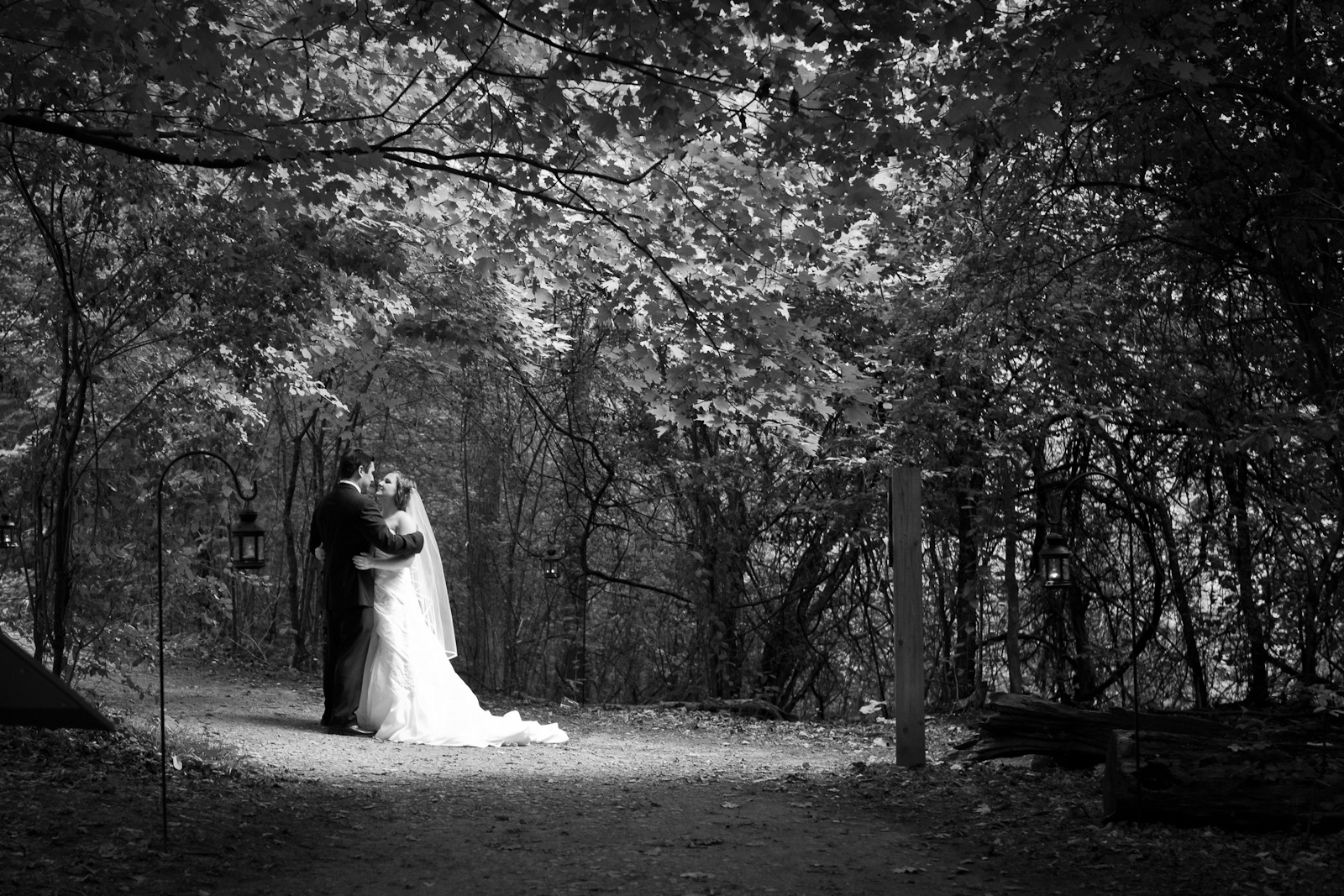 Wedding, couple in forest, trees, bride, groom, black and white photo