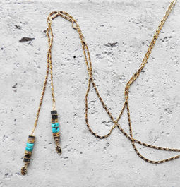 "Elise Tsikis: ""DRAGAN"" Turquoise - SAUTOIR / LONG NECKLACE 