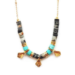 """Elise Tsikis: """"BELMA"""" Turquoise - SAUTOIR / LONG NECKLACE 