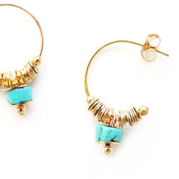 "Elise Tsikis: ""DISME"" Turquoise - BOUCLES D\'OREILLES / EARRING 