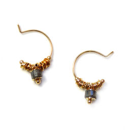 """Elise Tsikis: BOUCLES D\'OREILLES / EARRING """"DISME"""" gris 