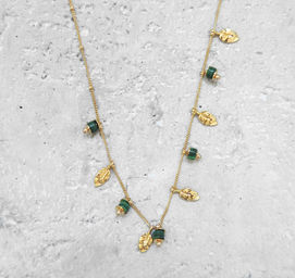 """Elise Tsikis: SAUTOIR / LONG NECKLACE """"DAYA"""" vert 