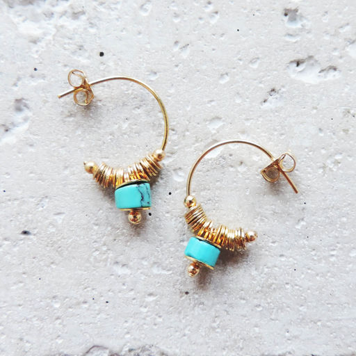 "Elise Tsikis: ""DISME"" Turquoise - BOUCLES D'OREILLES / EARRING - Hiphunters Shop"