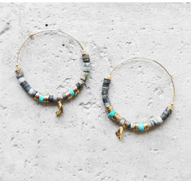 "Elise Tsikis: ""EREN"" Turquoise - BOUCLES D\'OREILLES / EARRING 