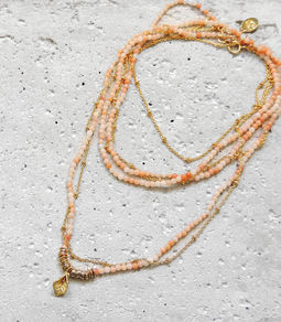 "Elise Tsikis: SAUTOIR / LONG NECKLACE ""ELOAS"" rose 