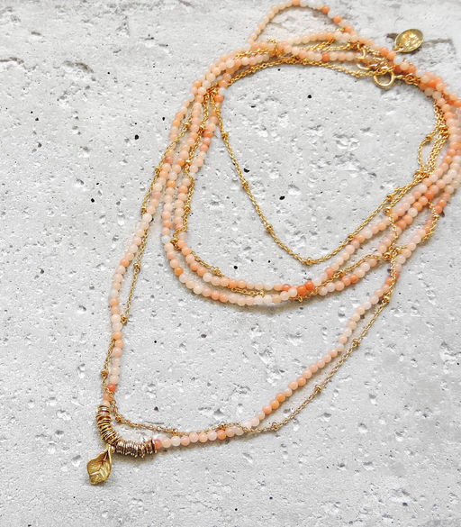"Elise Tsikis: SAUTOIR / LONG NECKLACE ""ELOAS"" rose - Hiphunters Shop"