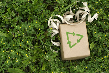 Eco friendly gift wrapped in recycled pa