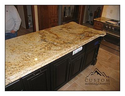 Thick Island Granite Countertop. Colonial Gold Granite Countertop ...