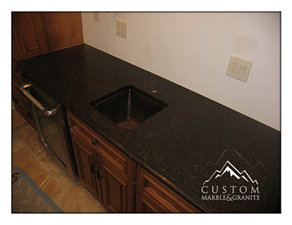 Coffee Brown Leather Granite Countertops