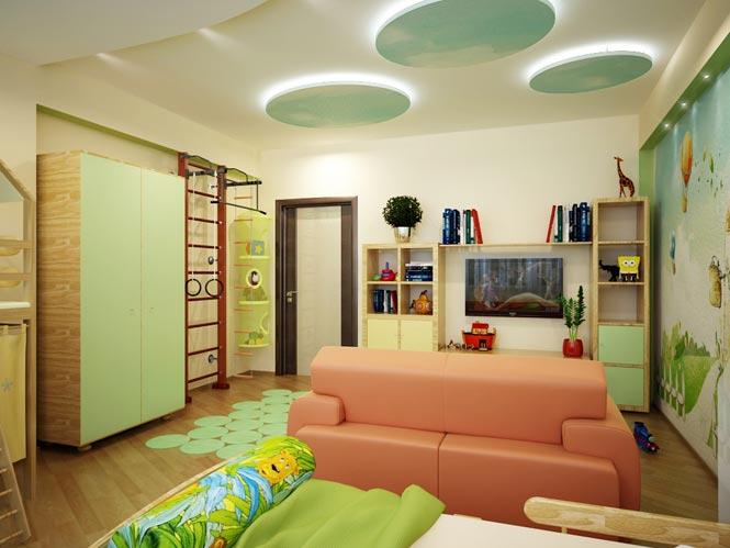 Дизайн детской комнаты шведской стенкой