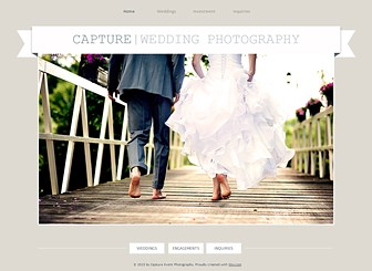 Wedding Photographer Template - With classic fonts and elegant design, this timeless theme is perfect for wedding and engagement photographers. Customize the galleries to display your creative style and add text to promote your packages and rates.