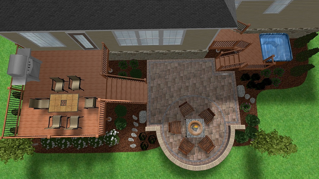 Pictures Of Backyard Decks With Hot Tubs : Backyard Retreats Patios & Ponds  Composite deck patio hot tub