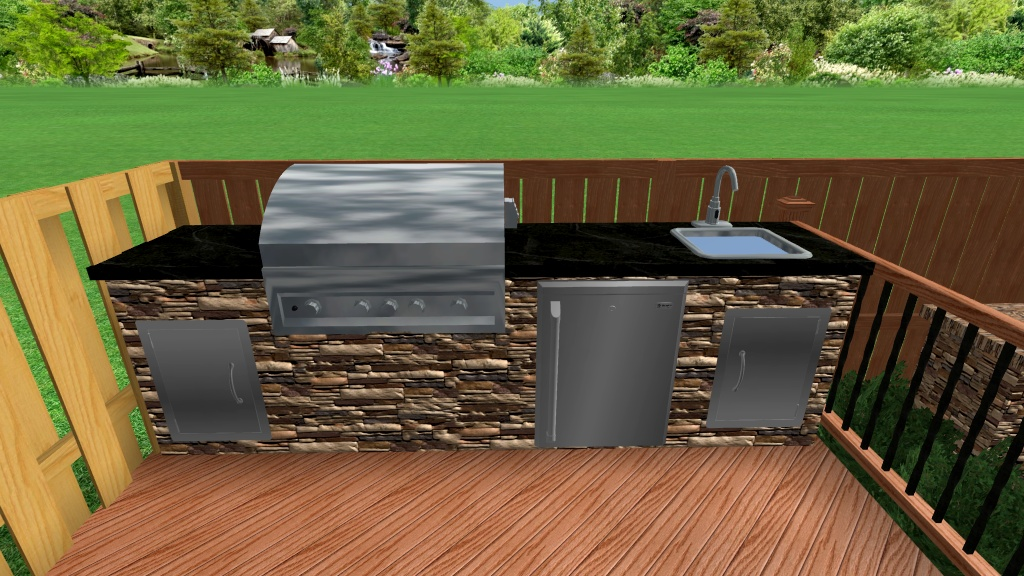 Backyard retreats patios ponds outdoor kitchen sink for Outdoor kitchen with sink and fridge