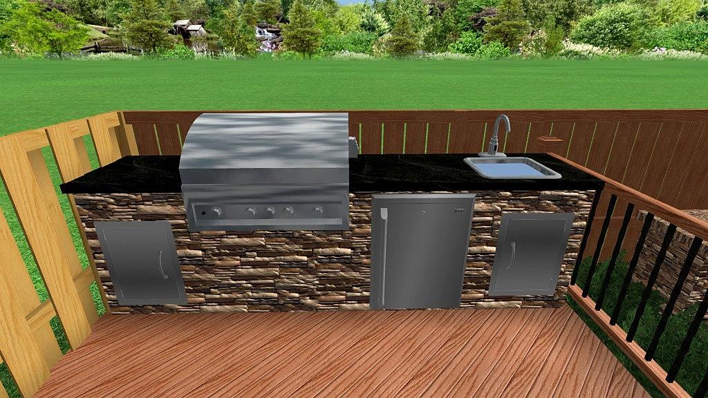 Backyard Retreats Patios Ponds Outdoor Kitchen Sink Grill Fridge