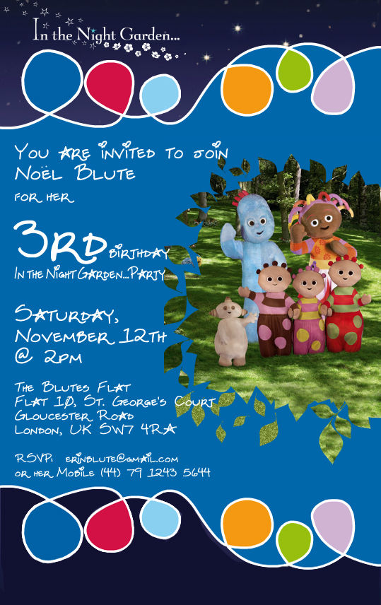 The Sweet Design – In the Night Garden Birthday Invitations