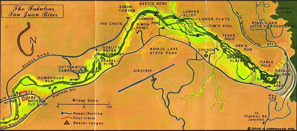 Map of the san juan river quality waters for Trout fishing new mexico map