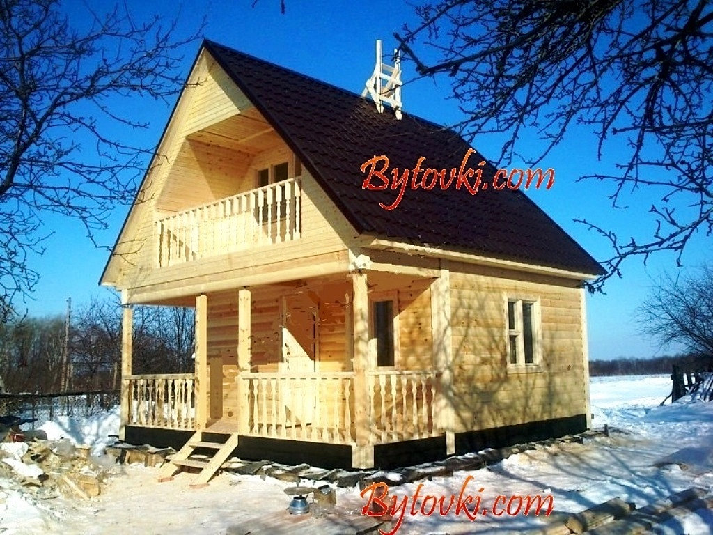 """Дом, проект из бруса """"дом 6х6 (д-3)"""" domizkomplekta.ru."""