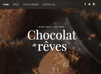 Chocolatier Template - A website template guaranteed to make mouths water, this is the perfect website template for anyone with anything sweet to offer. Boasting parallax scrolling, video strips and an easy-to-edit menu, it has never been easier to tempt your customers. Take orders directly from your website using the online ordering system. Start editing now to get your presence on the web!