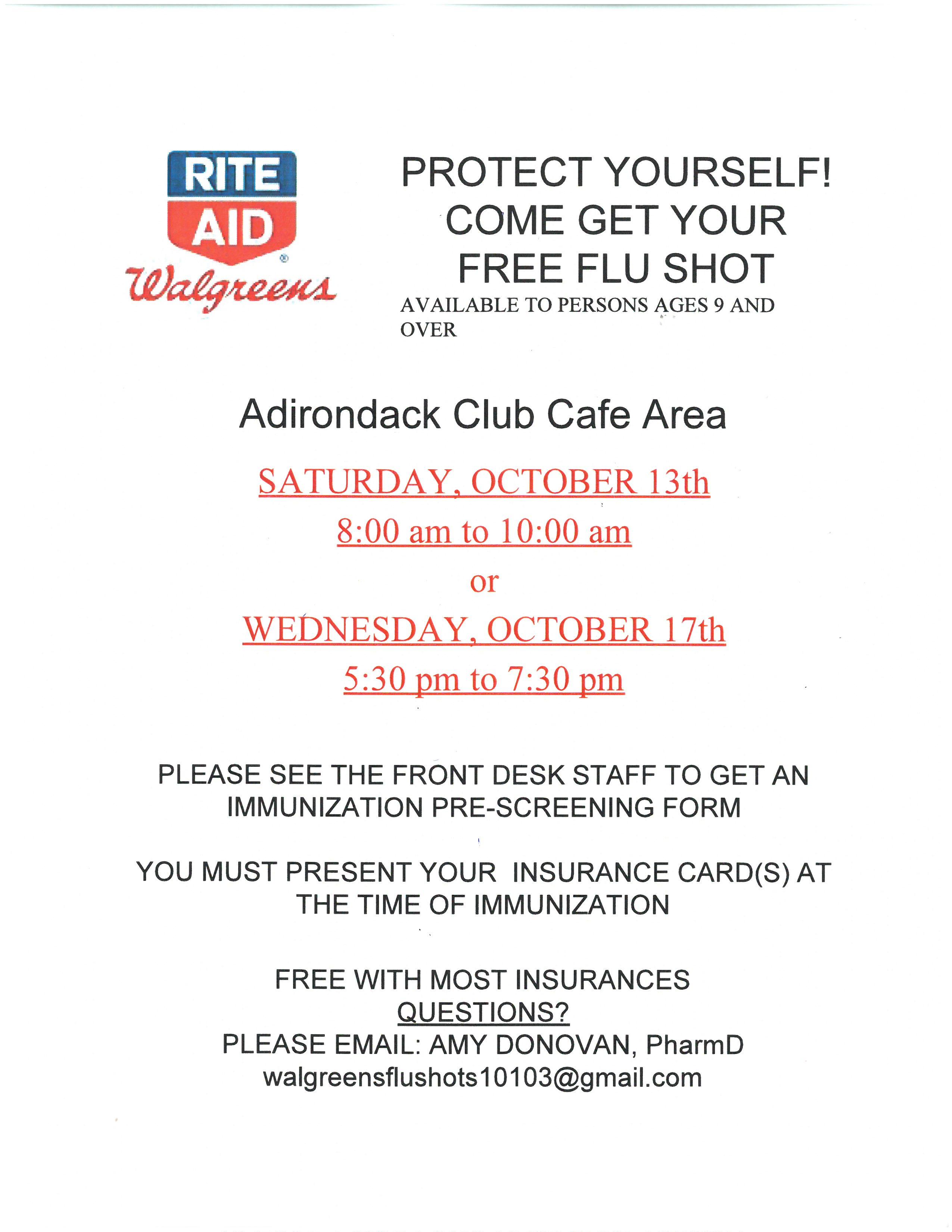 Flu Shot Clinics   Adirondack Club