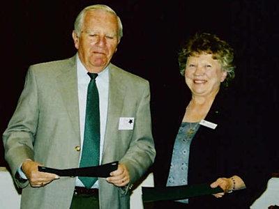 Pat Montesano and volunteer