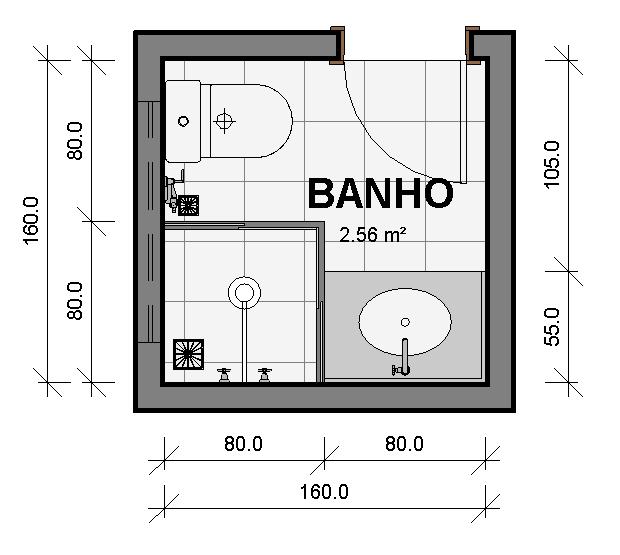 Banheiros Singles  Série Prédimensionamento de Ambientes  LYX Line  Site  -> Tamanho Minimo De Pia De Banheiro