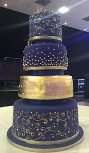 Gold Leaf Navy Wedding Cake