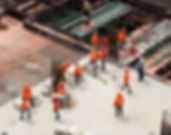 Construction workers on a building construction site