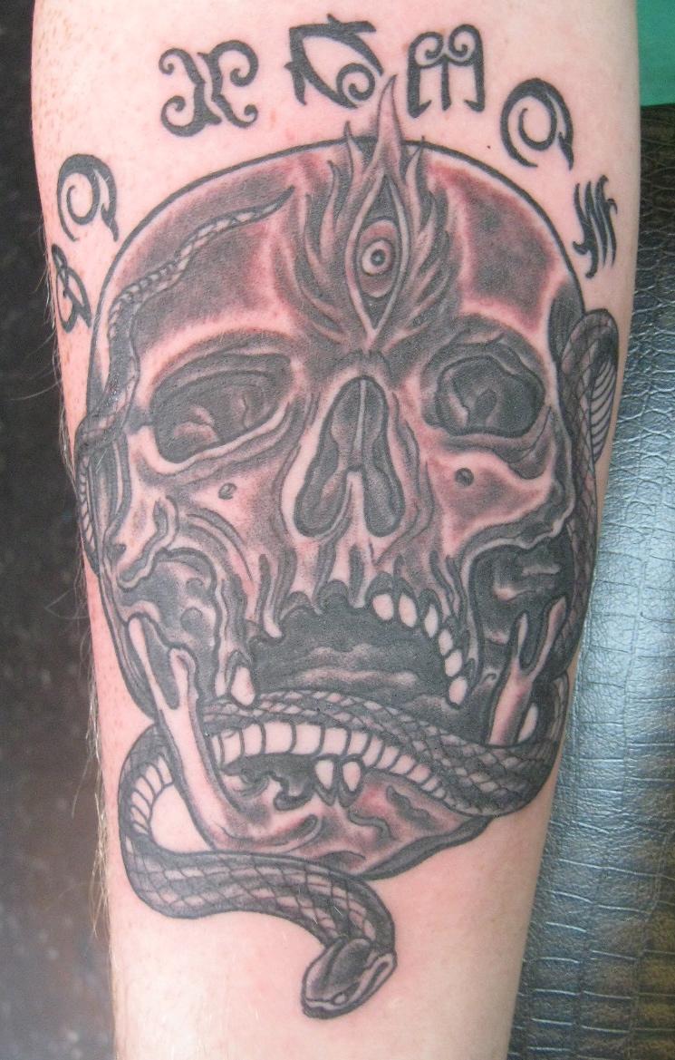 Tabernacle Tattoo Tampa Black Grey Skull And Snake Tattoo