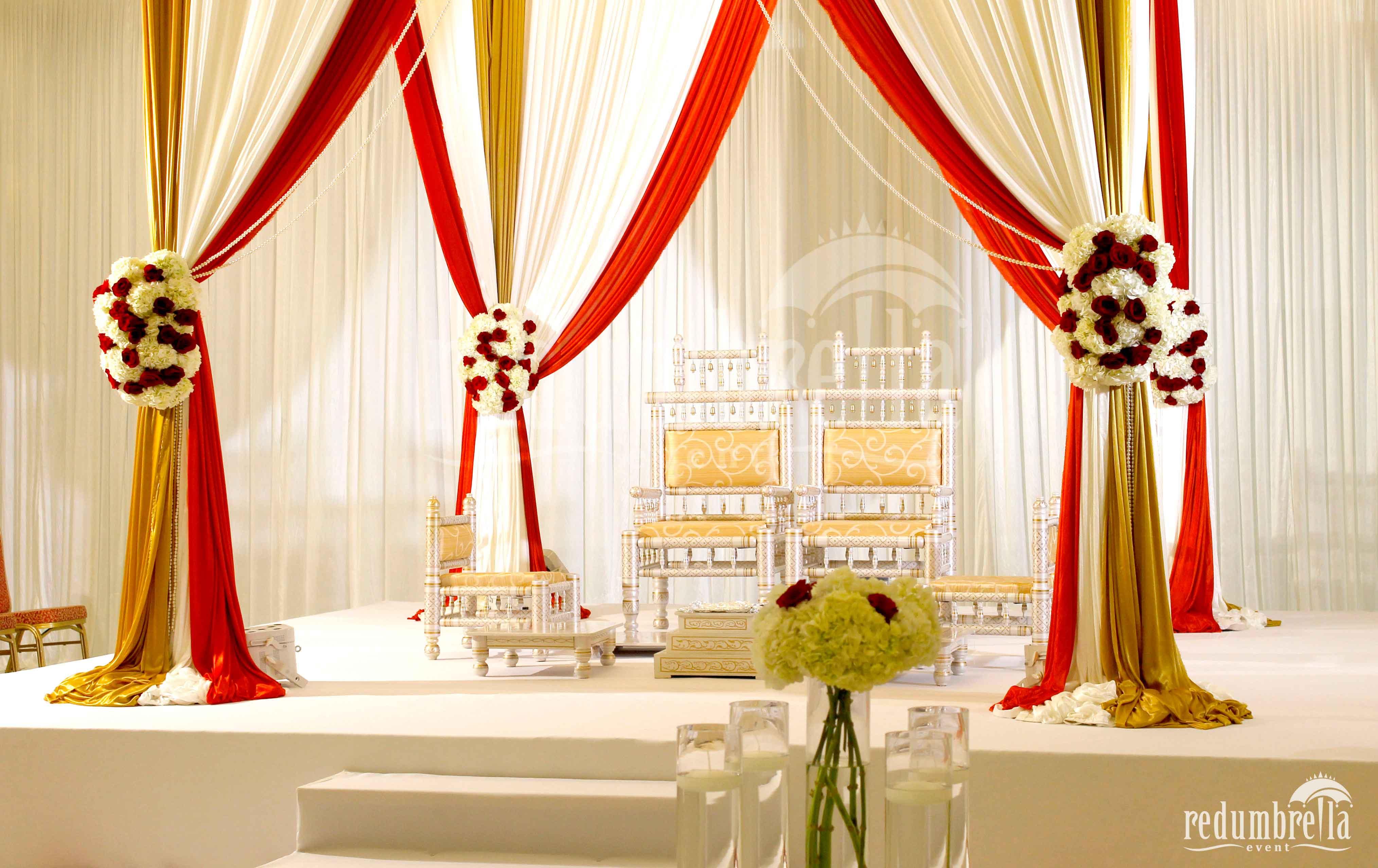 Red Umbrella Indian Wedding Decor Reception Design