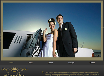 Wedding Photography Template - Elegant fonts and gold detail give this template a luxurious feel. Perfect for wedding and engagement photographers, the sliding galleries allow you to display your past projects in style. Design a unique website to take your talents online.