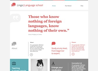 Language School Template - Build an online presence for your language school or institution with this professional yet inviting website template. The structured layout and built-in links for brochures give you plenty of space to discuss your programs, fees and schedules. Simply add text, photos and video to take your institution to the next level with a custom-made website.