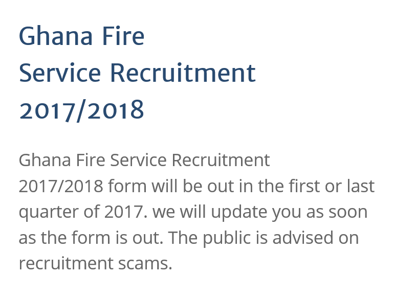 GHANA FIRE SERVICE RECRUITMENT 20172018 – Fire Service Application Form