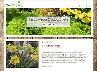 Landscape Gardener Template - The fresh design and earthy colors of this free template await your landscaping or gardening business. Create a photo gallery to provide a visual guide to your services and personalize the text to describe your qualifications. Start growing your client base today!