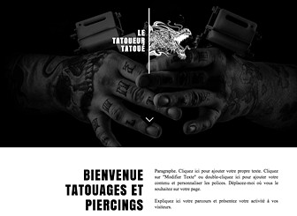 Tatoueur Template - Exprimez l'atmosphère alternative de votre studio de tatouage et de piercing avec ce template aux couleurs sombres et au design grunge. Ajoutez du texte et téléchargez vos photos pour annoncer vos services et exposez vos designs uniques. Créez un site web à la pointe, à l'image de votre entreprise !