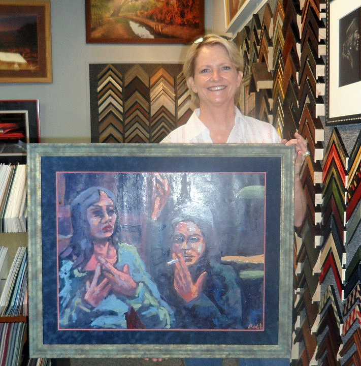 high desert art frame custom picture framing albuquerque photo or stephanie with painting
