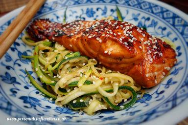 Sticky Teriyaki Salmon with zoodles (Paleo. Gluten Free)