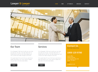 Lawyer & Lawyer Template - Traditional gets an update with this sophisticated website template. Ideal for legal, consulting, and corporate firms, this template gives you ample space to describe your qualifications, experience, and services. Upload photos to introduce team members and adjust the design and color scheme to match your professional brand.