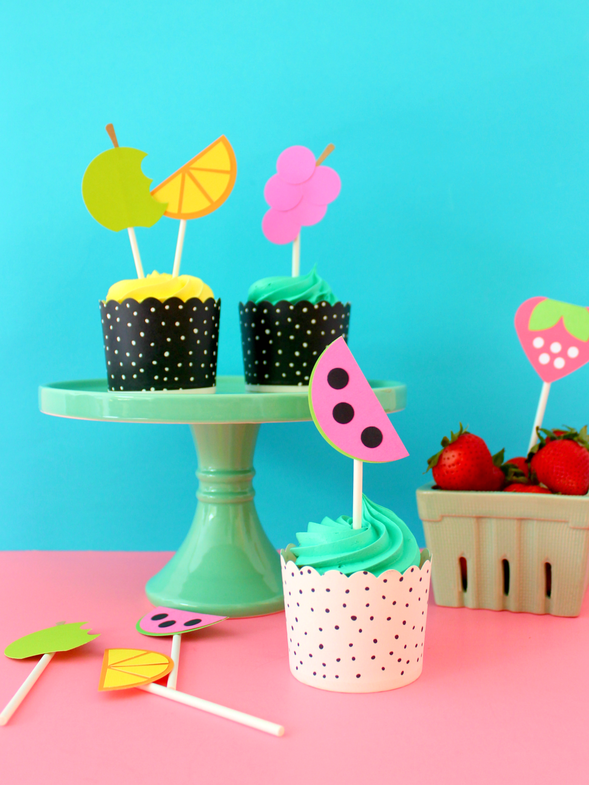 USING CRAFT PUNCHES TO MAKE FRUITY CUPCAKE TOPPERS
